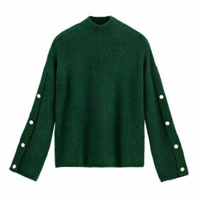 High Neck Chunky Knit Jumper with Buttoned Sleeves