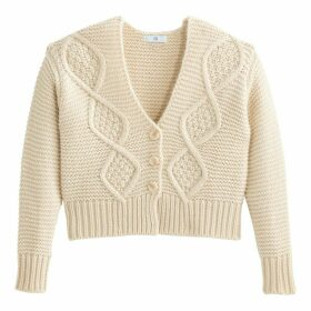 Cropped Cable Knit Cardigan with V-Neck