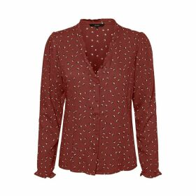 Graphic Print V-Neck Blouse with Long Sleeves