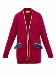 Christopher Kane - Crystal-embellished Gel-pocket Wool Cardigan - Womens - Pink