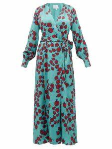 Rebecca De Ravenel - Claire Pomegranate-print Silk-satin Wrap Dress - Womens - Blue Multi