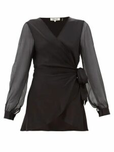 Diane Von Furstenberg - Klee Silk-sleeve Satin Wrap Blouse - Womens - Black
