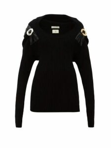 Bottega Veneta - Embellished Ribbed Wool Blend Sweater - Womens - Black