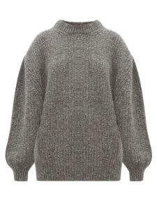 Raey - Oversized Ribbed Wool Blend Sweater - Womens - Charcoal