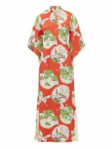 William Vintage - Crane-print Kimono-style Silk Maxi Dress - Womens - Red