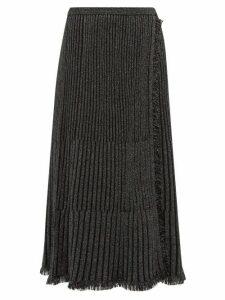 Diane Von Furstenberg - Brooklyn Metallic Ribbed Midi Skirt - Womens - Black