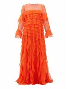Valentino - Ruffled Silk-chiffon Gown - Womens - Orange