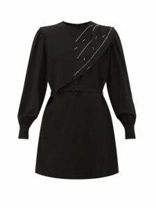 Msgm - Crystal Embellished Waterfall Panel Crepe Dress - Womens - Black