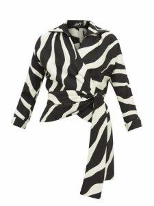 Elzinga - Zebra-jacquard Wrap Top - Womens - Black White