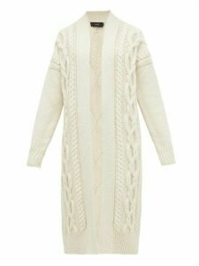 Joseph - Cabled Long Line Merino Wool Cardigan - Womens - Ivory