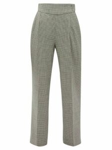 MSGM - Houndstooth Wool-blend Straight-leg Trousers - Womens - Black White