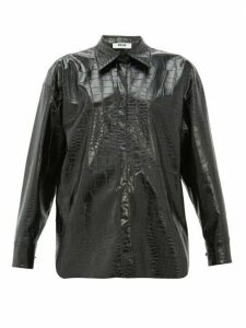 Msgm - Crocodile-effect Faux-leather Shirt - Womens - Black