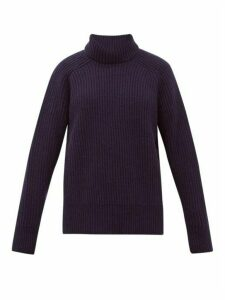 Ami - Roll-neck Wool Sweater - Womens - Navy