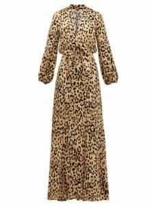 Temperley London - Piera Leopard-print Hammered Silk-satin Maxi Dress - Womens - Leopard
