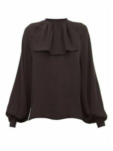 Loewe - Lavaliere Ruffled Silk Blouse - Womens - Black
