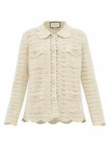 Gucci - Crystal-button Crochet-wool Cardigan - Womens - Ivory