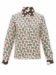 La Prestic Ouiston - Monogram Print Silk Faille Blouse - Womens - Cream Multi