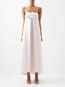 Adriana Iglesias - V-neck Leopard-pattern Devoré Maxi Dress - Womens - Black