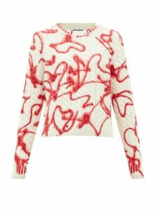 Msgm - Graffiti-print Cable-knit Sweater - Womens - Red White