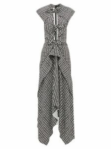Proenza Schouler - Knotted Cut-out Checked Maxi Dress - Womens - Black White