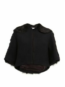 Raey - Cropped Shearling And Wool Jacket - Womens - Navy Multi