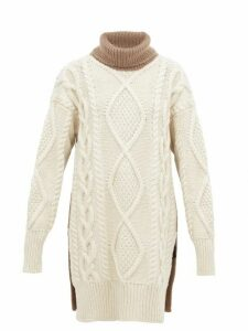 Joseph - Oversized Roll Neck Cable Knit Wool Blend Sweater - Womens - Beige White