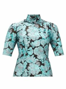 Erdem - Saveria High-neck Brocade Silk-blend Blouse - Womens - Blue