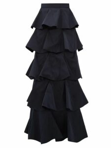 Maison Rabih Kayrouz - Tiered Cotton-blend Maxi Skirt - Womens - Navy