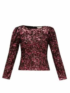 Rebecca Taylor - Long-sleeved Sequinned Top - Womens - Burgundy
