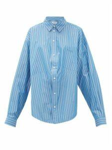 Balenciaga - Oversized Striped Cotton-blend Shirt - Womens - Blue White