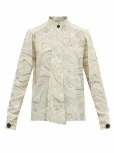 Lemaire - Marble-print Silk Shirt - Womens - White Black