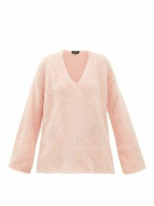 Rochas - Oversized Mohair Blend Trapeze Sweater - Womens - Light Pink