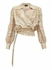 Dundas - Tiger-striped Silk-blend Wrap Blouse - Womens - Silver Multi