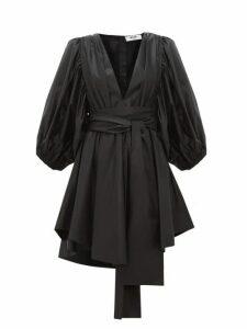 Msgm - Balloon Sleeve Wet Look Satin Mini Dress - Womens - Black