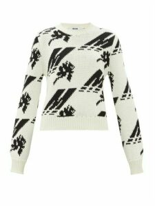 Msgm - Crew-neck Logo-intarsia Wool-blend Sweater - Womens - White Black