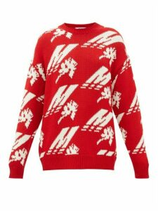MSGM - Crew-neck Logo-intarsia Wool-blend Sweater - Womens - Red White