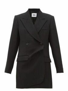 Msgm - Misalinged Double Breasted Wool Mini Dress - Womens - Black