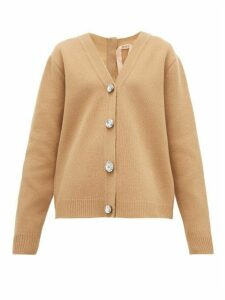 No. 21 - Crystal-button Wool-blend Cardigan - Womens - Beige