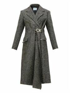 Prada - Gathered-waist Raw-edge Wool-blend Coat - Womens - Black White