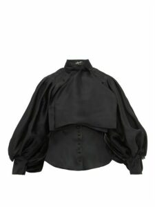 Elzinga - Balloon Sleeve Silk Organza Blouse - Womens - Black