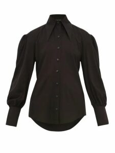 Elzinga - Point-collar Cotton Blouse - Womens - Black