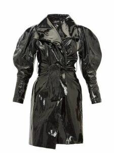 Elzinga - Balloon-sleeve Pvc Trench Coat - Womens - Black