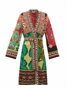 Etro - Floral Tie Waist Jacquard Robe Cardigan - Womens - Green Multi