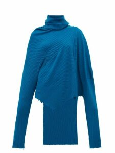 Marques'almeida - Asymmetric Roll-neck Ribbed Merino-wool Sweater - Womens - Blue