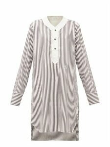 Wales Bonner - Genius Baseball Striped Cotton Tunic - Womens - Brown White