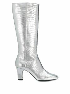 Les Petits Joueurs metallic pointed boots - Silver