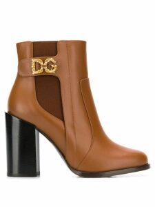 Dolce & Gabbana DG motif ankle boots - Brown