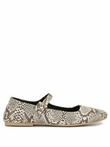 Alexa Chung snake-effect printed ballerina shoes - White