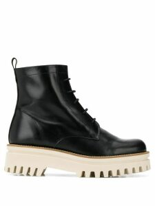Paloma Barceló flatform lace-up ankle boots - Black