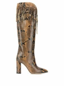 Paris Texas Stivali Stampa fringed boots - Brown
